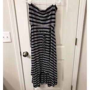 Sleeveless Navy/White Striped Maternity Dress XL